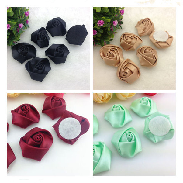 Make Satin Ribbon Flower Satin Ribbon Roses Flower For Wedding     JPG Polyester Ribbon Satin Rosettes flower  4  jpg