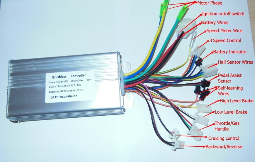 GREENTIME 36V/48V 500W/600W 30Amax BLDC Motor Controller Electric ...