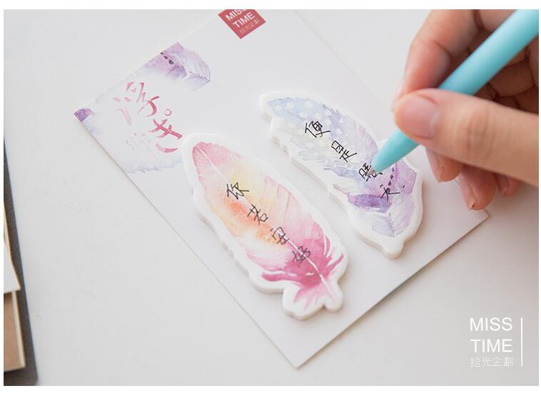 aeProduct.getSubject()  Y56 Recent Colourful Feather Memo Pads Sticky Notes Stick Paper Message Sticker Bookmark Marker of Web page Stationery Faculty Provide HTB144E