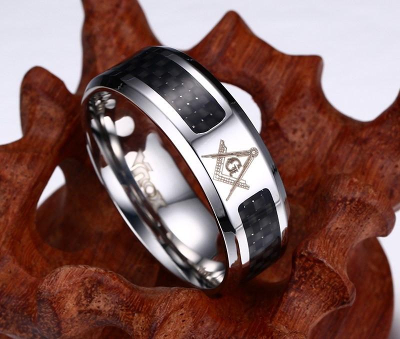 Fashion Black Men Rings Stainless Steel Masonic Rings