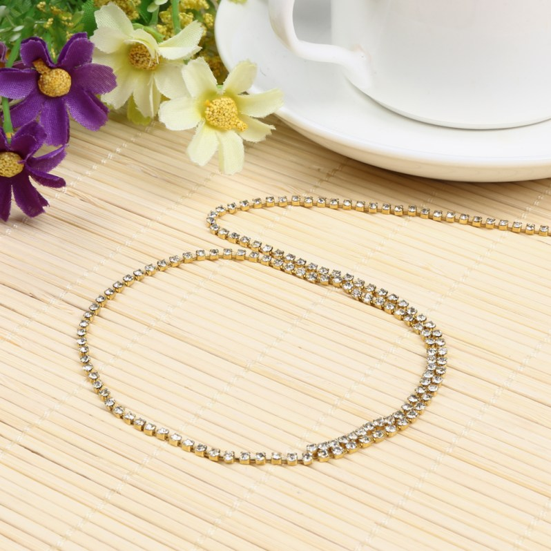 Super 10yards/roll clear crystal SS6-SS12(2mm-3mm) silver base Apparel Sewing style diy beauty accessories rhinestone chain