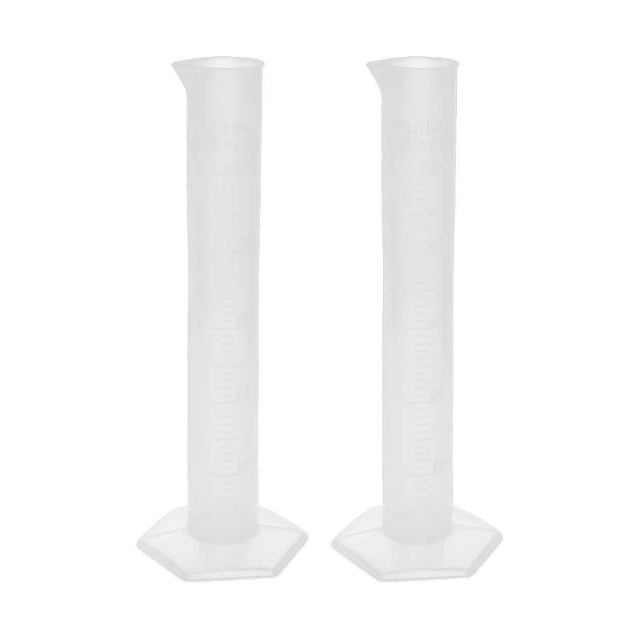 Sosw 2pcs 50ml Transparent Plastic Graduated Cylinder Lab