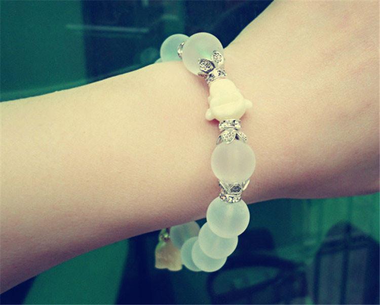 Natural Crystal Beads Bracelets For Women 2016 Fashion Silver Alloy Elephant Charm Bracelets Bangles Femme (12)