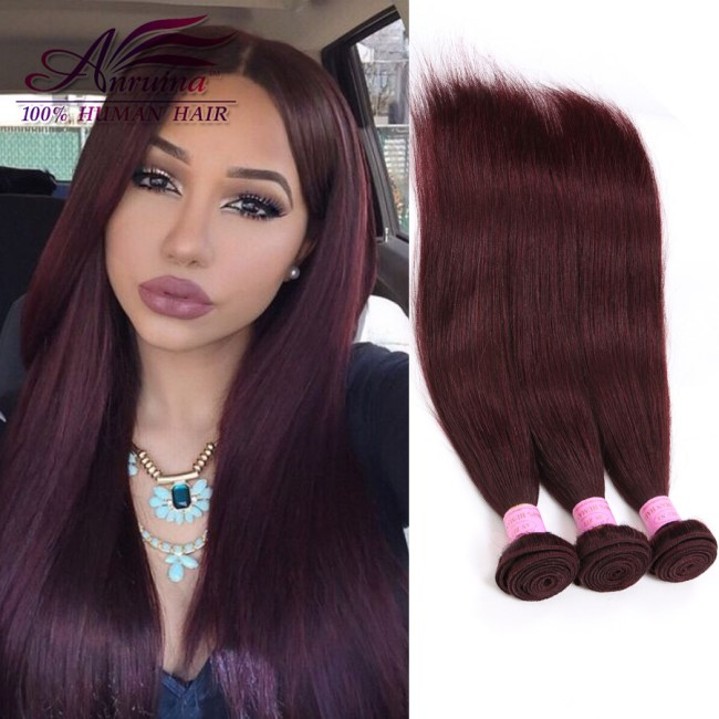 Red Weave Brazilian Straight Hair