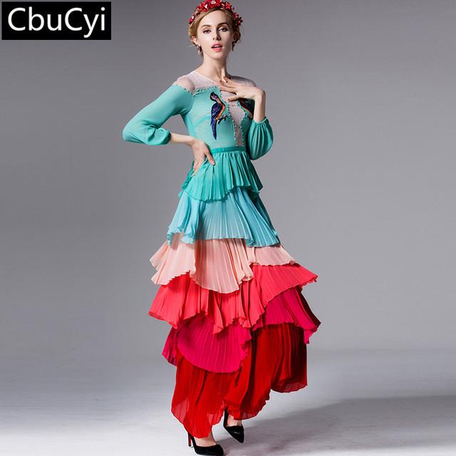 Элегантный и Шикарный 2016 весной и летом птицы вышивка градиент с длинным рукавом Чешские кекс платье (DG015)
