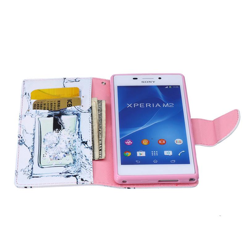 במקרה coque Sony Xperia M2 Case כיסוי עבור S50H D2302 D2303 מקרה לעמוד מחזיק כרטיס עבור Sony Xperia M2 הטלפון הנייד המקרים