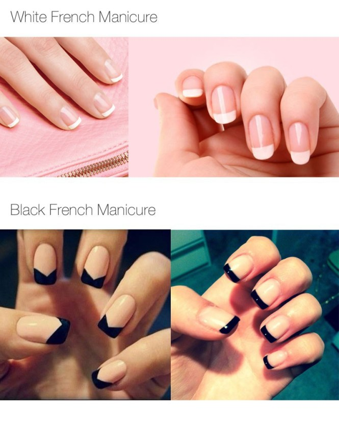 You Can Still Have A French Manicure With Few Extra Designs Placed Atop White Black And Silver Always Go Well Together When Paired This Type Of