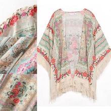 Kimono floral y flecos AliExpress