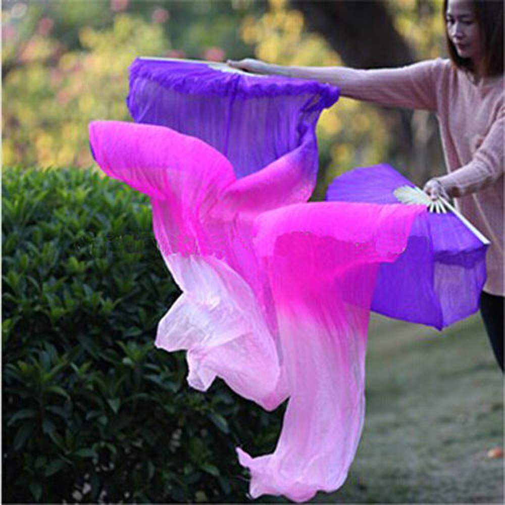 nice 3 colors dyed real Silk Fan Veils for belly dance ...