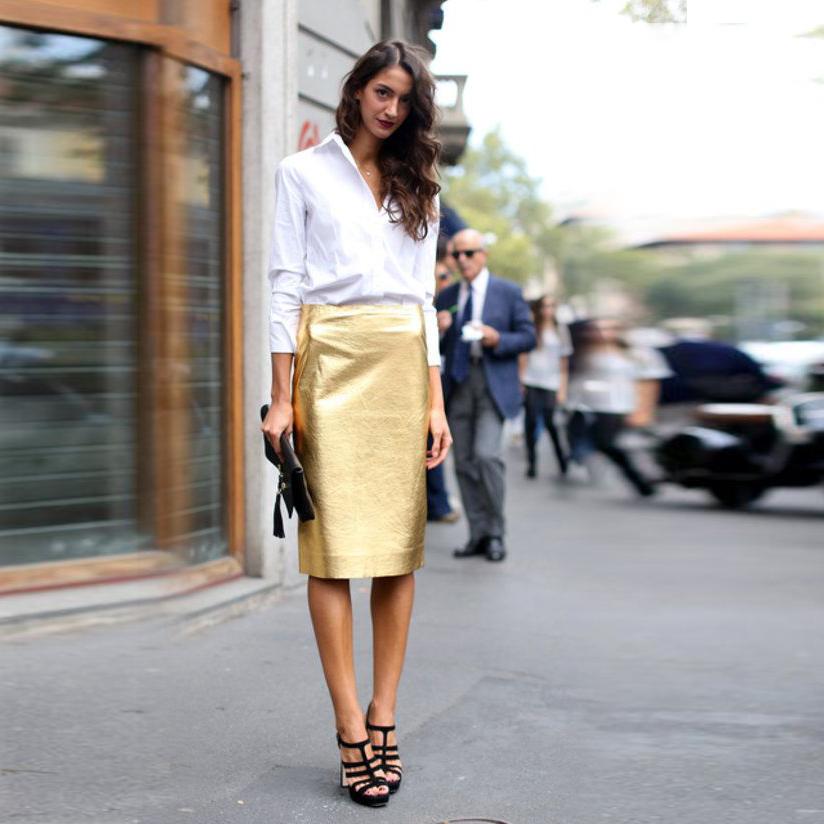 Image result for gold midi skirt