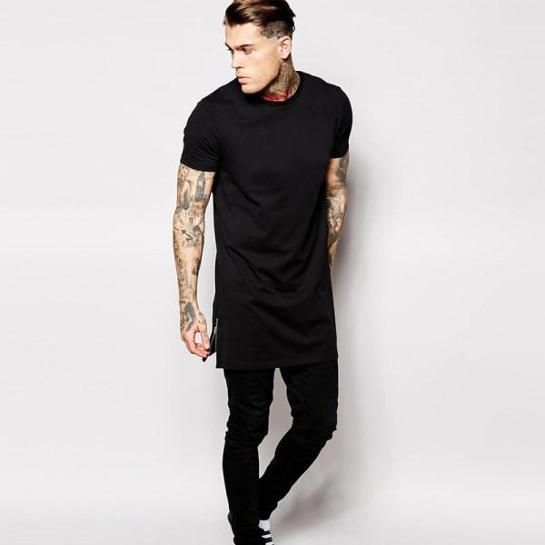 Hip hop t shirt cotton 100% US size long t shirt men with ...