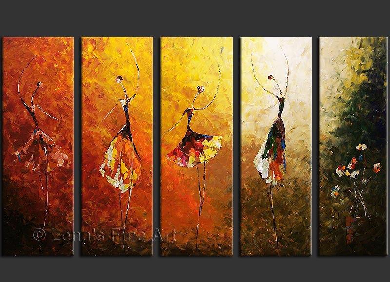 100% Hand Paint Abstract 5 Panel Canvas Art Ballet Dance