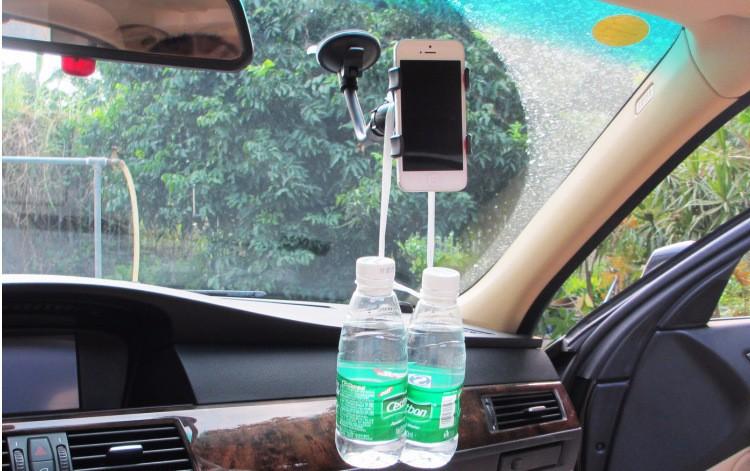 אוניברסלי 360 תואר סיבוב כוס יניקה שמשת הרכב כפולה טלפון סלולרי בעל תושבת הר עבור Iphone GPS וטלפון חכם