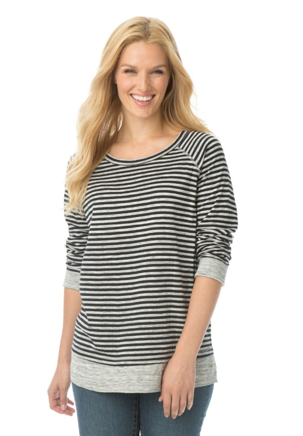 L 10XL Plus Size Casual Women Stripe Tunic Long Sleeve Tee ...