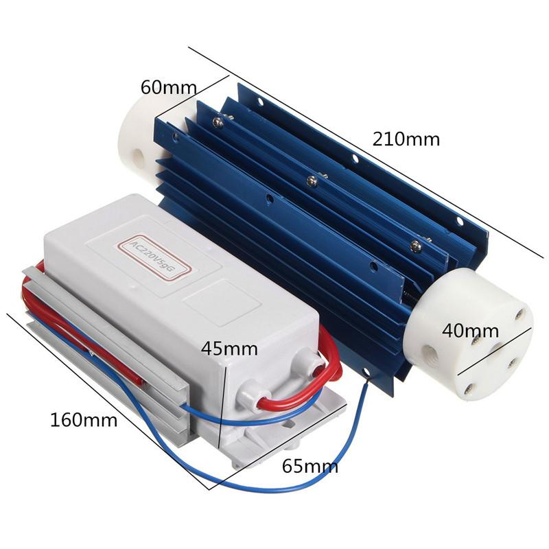 220V 5G/H חיטוי מים, טיפול סוויטה מחולל אוזון שפופרת קוורץ