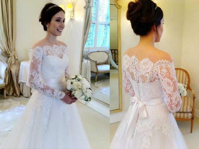 Vintage Lace Wedding Gown A Line Off The Shoulder Full