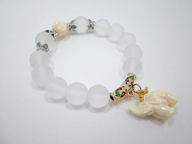 Natural Crystal Beads Bracelets For Women 2016 Fashion Silver Alloy Elephant Charm Bracelets Bangles Femme (10)