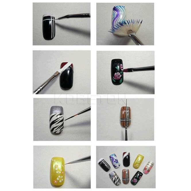 How To Use Any Nail Supplies Diamond Liner Painting Brush Acrylic Rhinestones Handle Draw Line Art