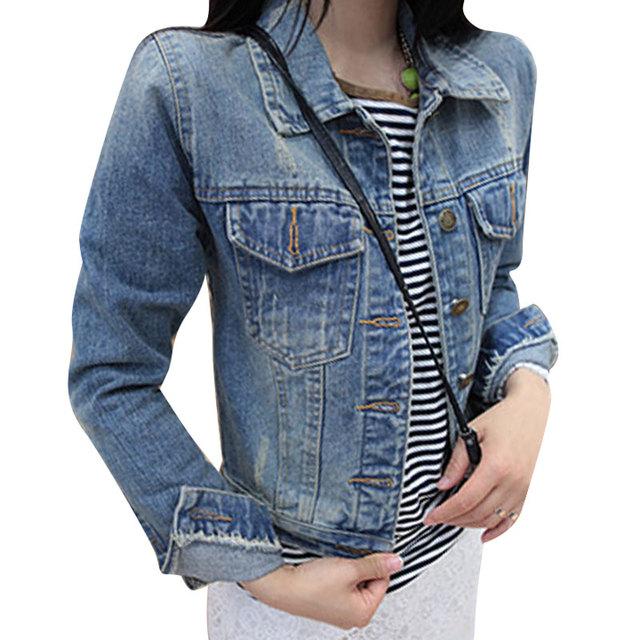 Новое Прибытие S-4XL Плюс Размер Джинсовая Куртка Поло Ошейник С Длинным Рукавом Однобортный Тонкий Джинсовой Ткани Женщин Casaco Мода женщин куртка