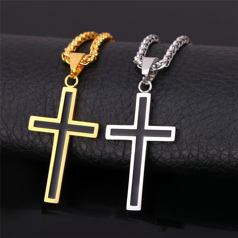 U7 Cross Enamel Pendant Necklace Stainless Steel Black Gold Color For Men/Women Religious Christian Jewelry Christmas Gifts P581