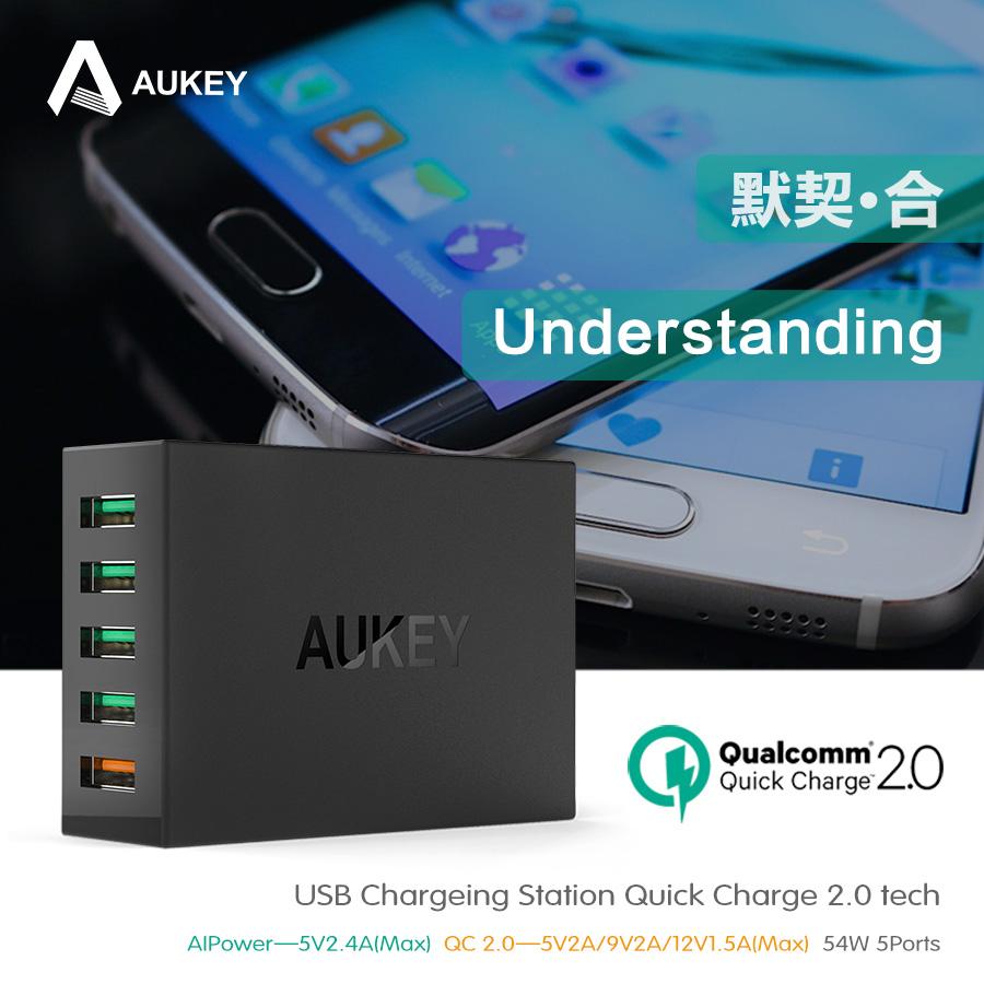 Aukey מהר מטען 2.0 5 יציאות USB מטען קיר לנסיעות טעינה QC2.0 מהיר מטען עבור HTC ויותר טלפון נייד