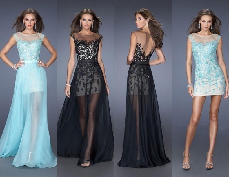 2015 Popular Prom Gown Chiffon Appliques Detachable Train