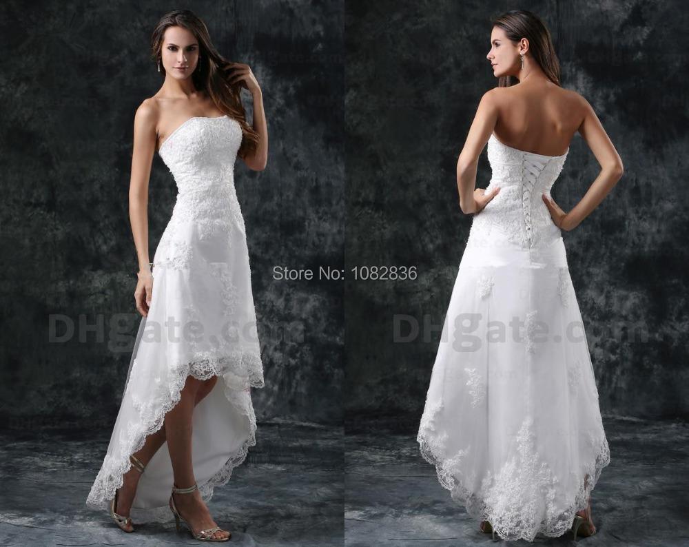 Beach Short Wedding Dress Short Front Long Back Floor