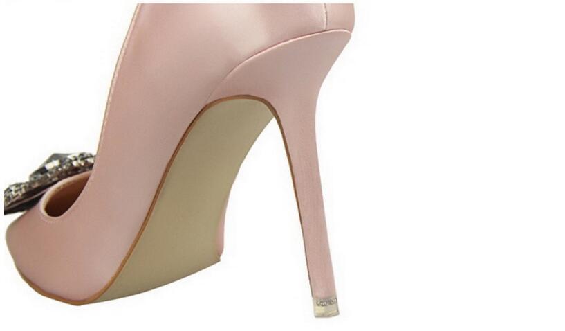 28  BIGTREE New Summer time Attractive Girls Pumps Elegant Buckle Rhinestone Silk Satin Excessive Heels Sneakers Heeled Skinny Pointed Single Sneakers ok89 HTB1f26QQVXXXXbNXFXXq6xXFXXX2