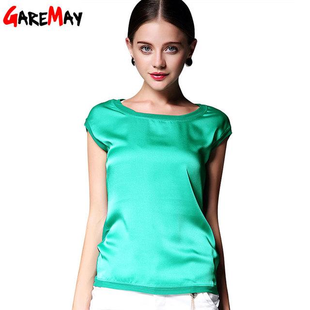 Летние женщины блузки 2016 новый повседневная шифон шелковая блузка тонкий рукавов О-Образным Вырезом blusa feminina топы футболки твердые 6 цвет Y048