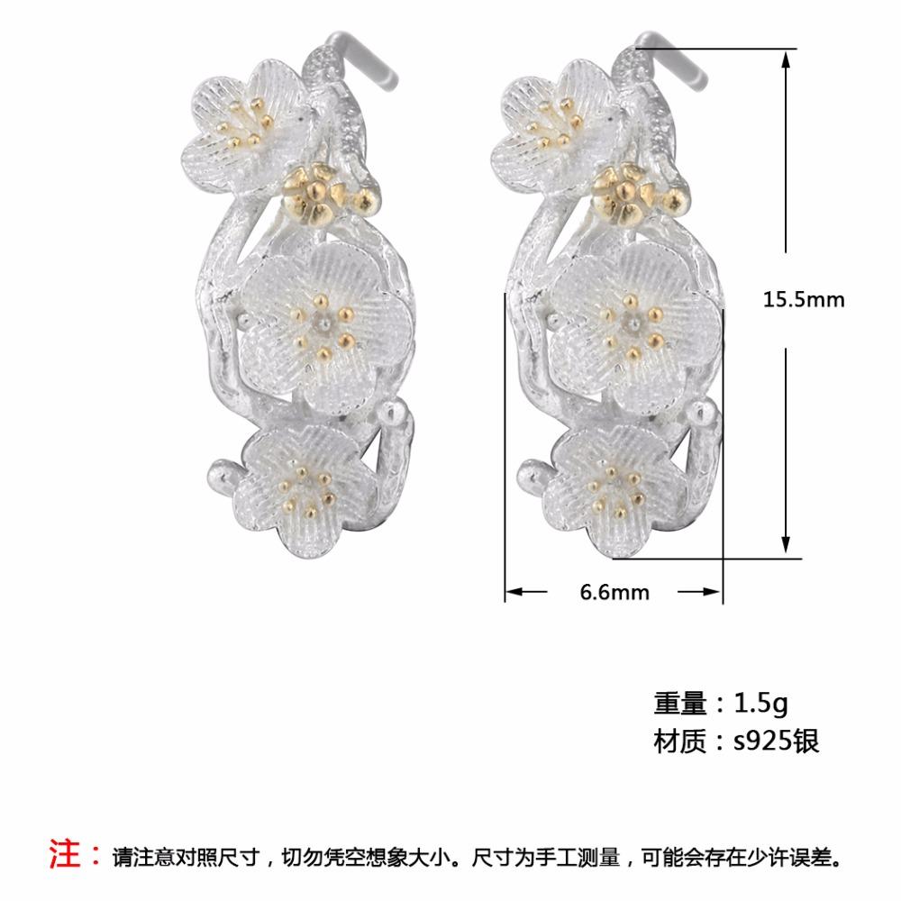 CHENGXUN Cherry Blossom Equipment Department Flowers Stud Earrings For Girls Marriage ceremony Social gathering Silver Earring Ladies Birthday Decor HTB1hx4pQXXXXXc3XVXXq6xXFXXXa