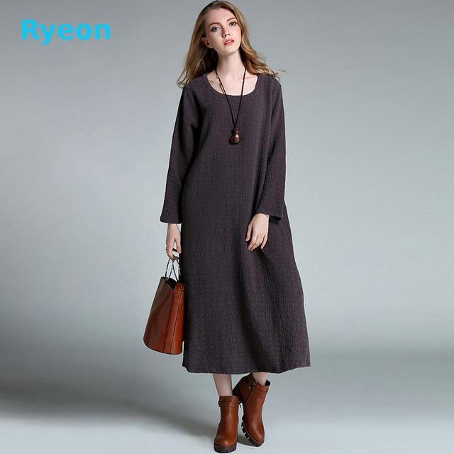 Xl-4xl Плюс Размер Длинные Женщины Платья Простой Чистый Цвет Хлопка С Длинным Рукавом Шею Середины икры Карманы женщин платье Ryeon
