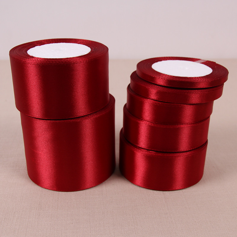 1 Roll 25 Yards Wine Red Polyester Satin Fabric Ribbon Wrapper Chrismas Wedding Party Decor Cake Wrap Ribbons DIY Accessories