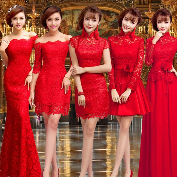 2016 New Style Vintage Chinese Clothing Store Oriental Silk Traditional Bridal Bride Sexy Long Red Wedding Cheongsam Qipao Dress