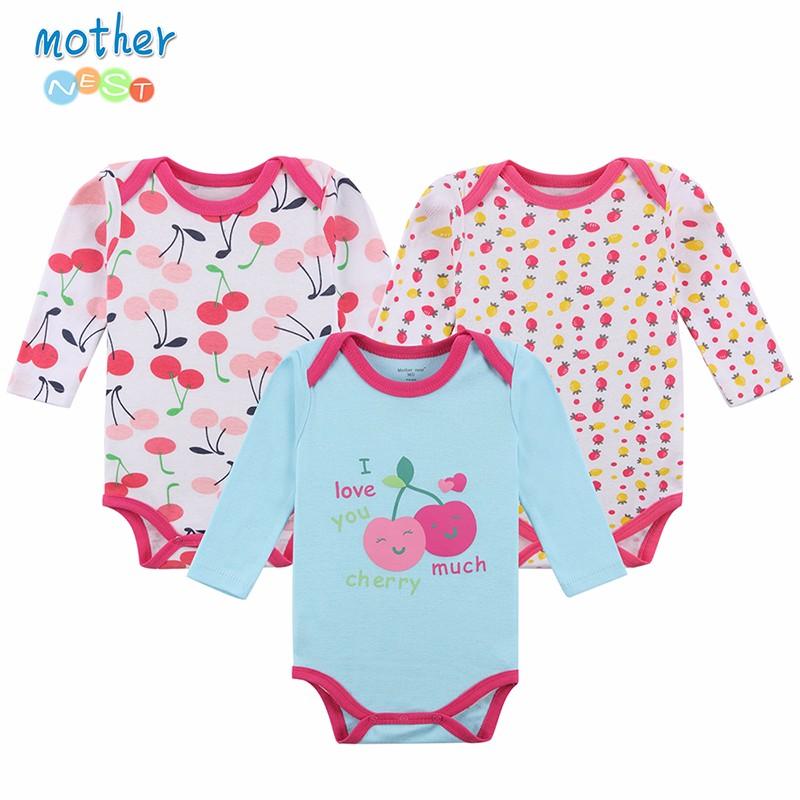 Mother Nest 3 Pcslot Baby Bodysuits Girls Infant Jumpsuit Long Sleeve Toddler Underwear Next Baby Clothing Pajamas