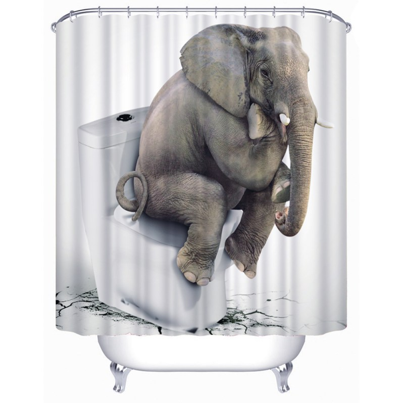 Toilet Thinking Elephant Christmas Shower Curtain Waterproof Fabric Bathroom Shower Curtain With Curtain Hooks Rings