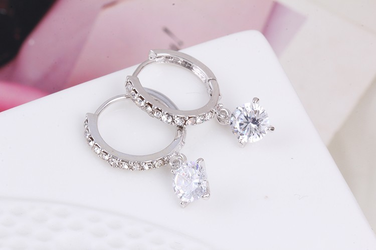 1 Pair Charm Geometric Round Crystal Drop Earrings Gold Silver Plated Zircon Big Circle Loop Pendant Earrings for Women Jewelry (6)