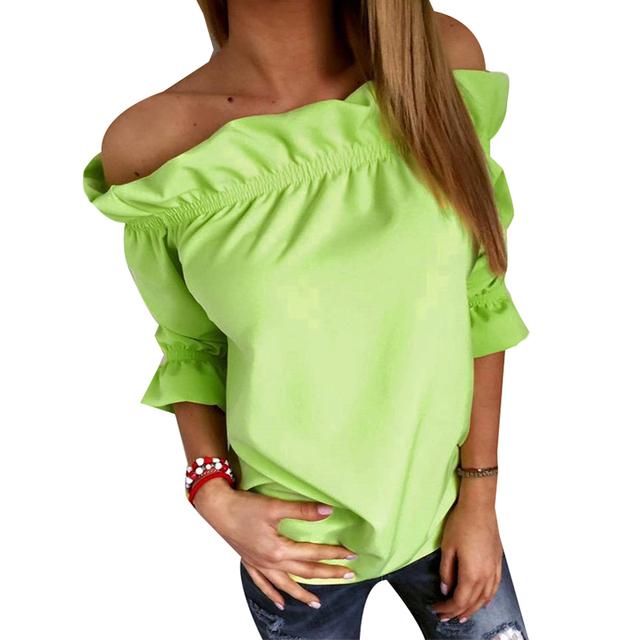 Мода Женщины Блузка Puff Рукавом Slash Шеи Soild Рубашка Без Бретелек С Плеча Оборками Женские Блузки Дамы Топы LJ3866C