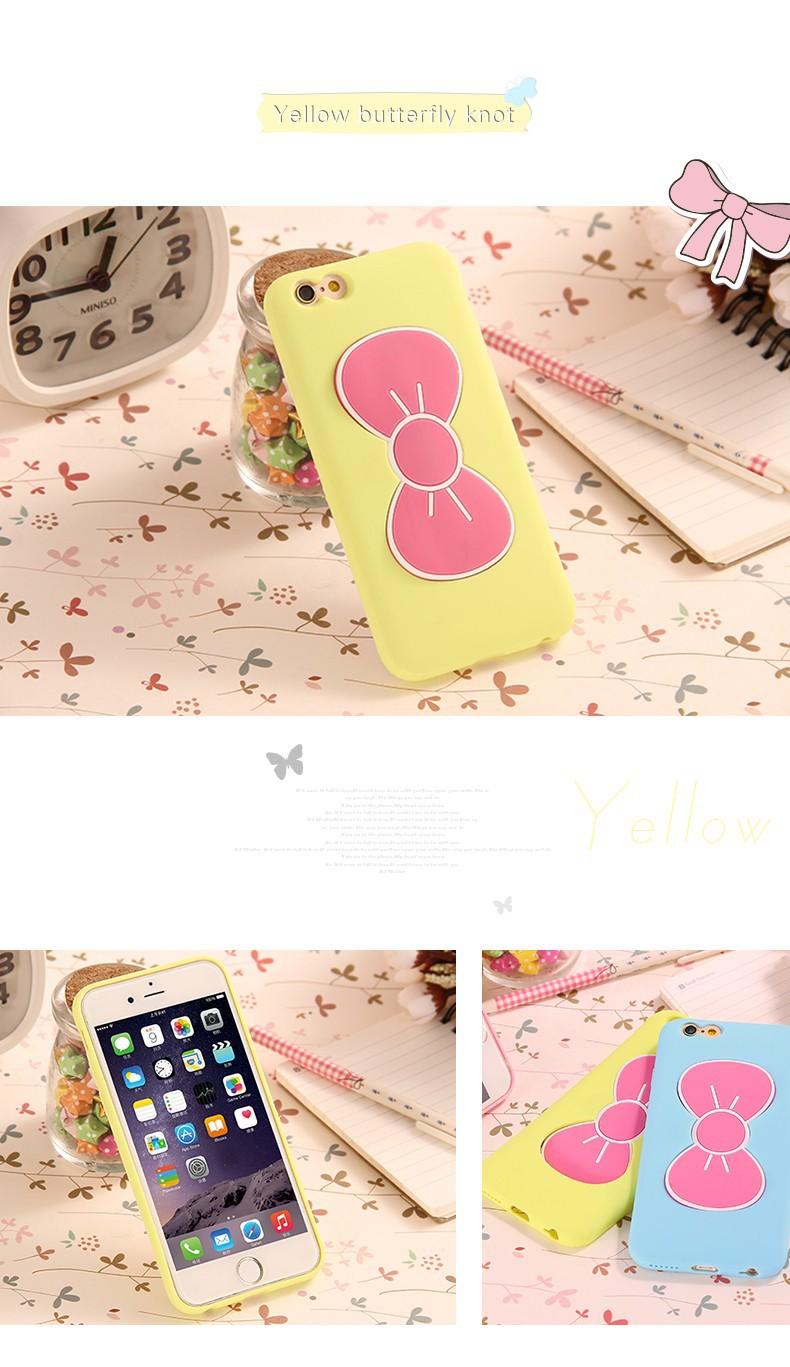 עבור iPhone 6 קריקטורה המקרים חמוד פרפר קשת בעל דוכן מקרה עבור iPhone 6 4.7 אינץ ' Slim סיליקון גומי כריכה אחורית i6 1pcs/lot