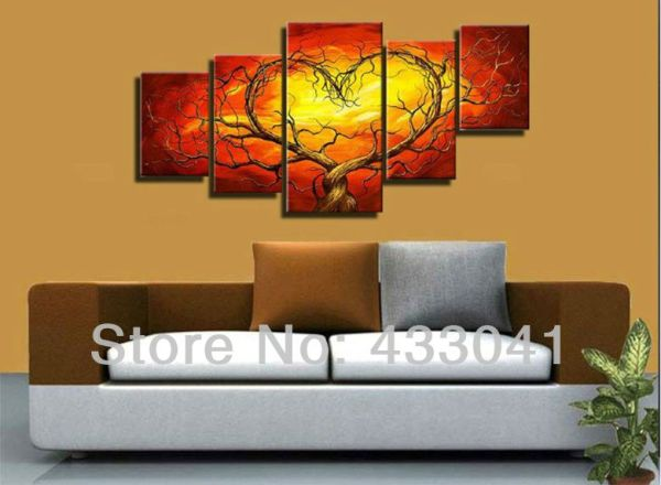 Red Yellow Couple Lovers Heart Tree Art Canvas Painting