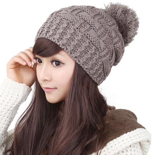 BomHCS 6 Warna Sederhana Lucu Wanita Rajutan Topi Musim Dingin Buatan  Tangan Topi Beanie Hangat Street 3bdb781281