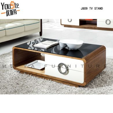 Modern Wooden Teapoy Glass Top High Gloss Center Lcd Coffee Table     J809A jpg