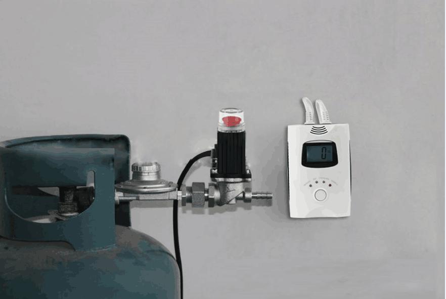مطبخ طبخ كاشف تسرب الغاز التنبيه بالانوار والصوت، صمام منع تسرب وتتابع عن احتراق الغاز وأول أكسيد الكربون
