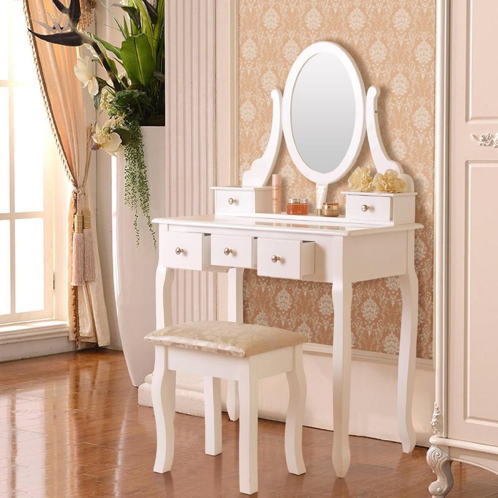 home garden furniture 5 drawer makeup table set vanity dressing table desk oval mirror w stool cherry yaguesa es