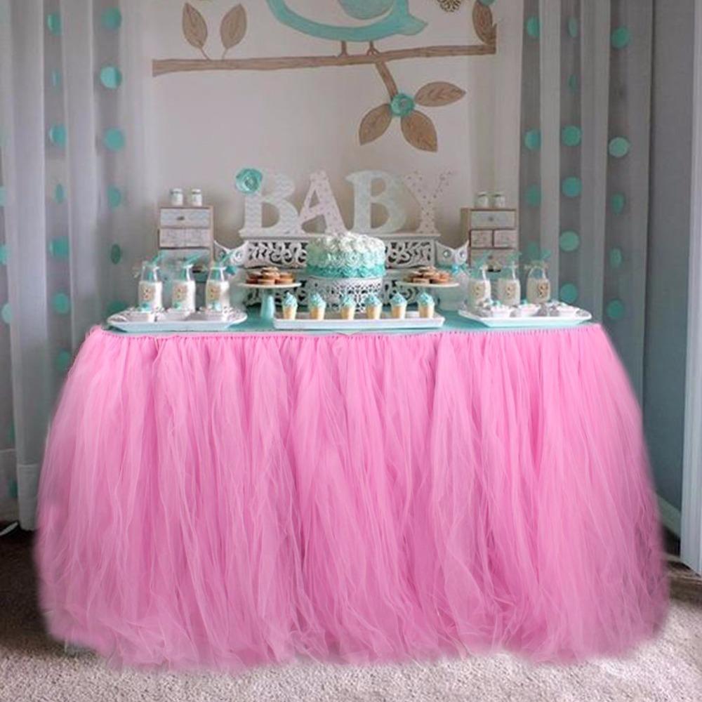 Tulle Tutu Table Skirt Baby Shower Table Cloths For
