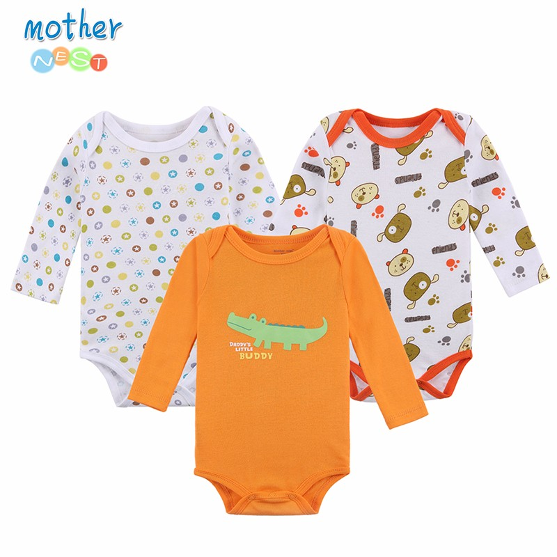 Mother Nest 3 PCSlot Baby Romper Long Sleeves Winter Cartoon Animal Printed Baby Boy Clothes Autumn Winter 2016 Baby Clothing