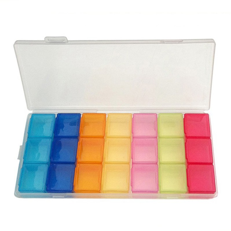 7 Day 21 Slot Pill Box Case Organizer Week Storage Drug Holder FOR Medicine Splitter Container Storage Case Healthy Care Props