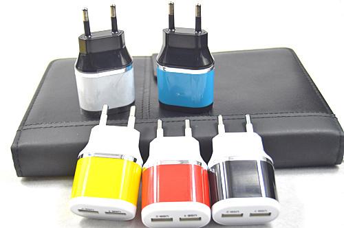 2 יציאות האיחוד האירופי AC נסיעות USB מטען קיר לאייפון לסמסונג גלקסי עבור HTC טלפונים סלולריים מתאם