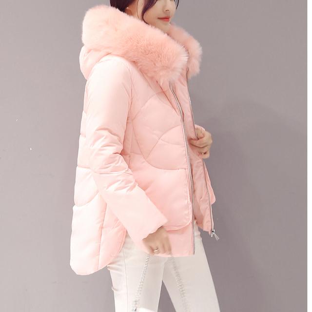 Большой меховой воротник вниз ватные куртки женские пальто средней длины тонкий хлопка-ватник утолщение Новых мужчин зимняя куртка женская зимняя парка пуховик зимний женский пальто зимние куртки женские пуховик