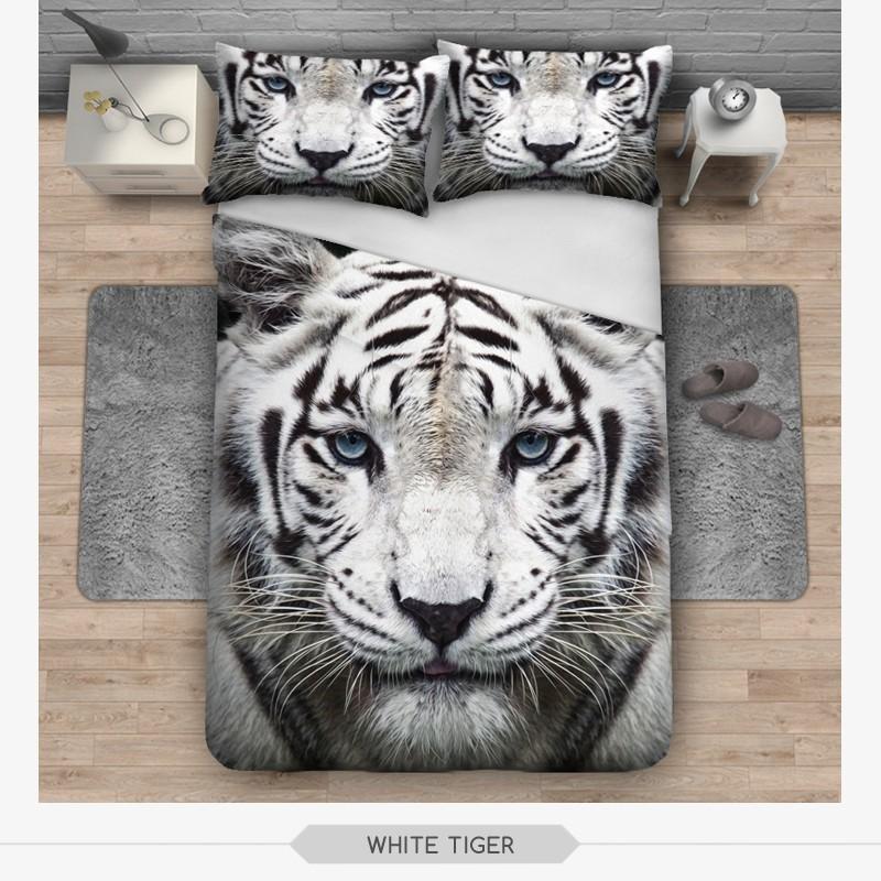 New Hipster 3d Print Bedding Set White Tiger Duvet Cover
