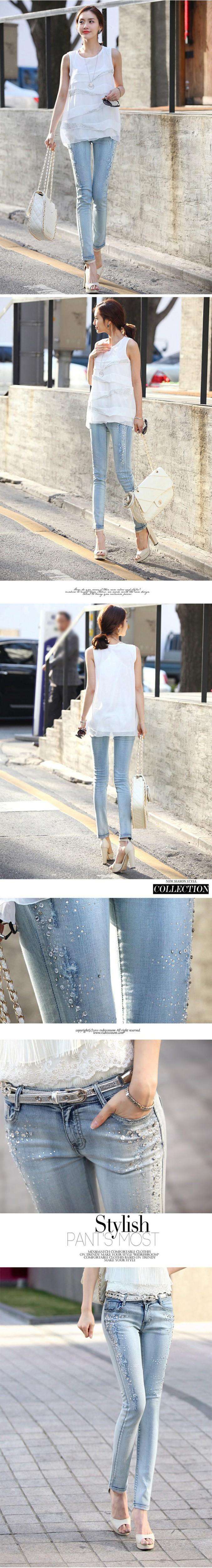 6 EKSTRA BESAR Celana Jeans Wanita Korea Denim berwarna Terang Kaki Memakai Putih Celana Pensil Wanita Kurus Hot Pengeboran Jeans